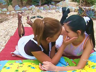 Mia And Romea Frolics With Their Fresh And Plump Teen Pussies In The Beautiful Garden