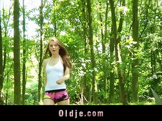 A Hot Teen Meets An Old Guy In A Forest And Fucks Him