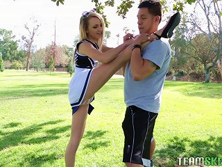 Flexible, Sexy Cheerleader Works Out On His Hard Dick